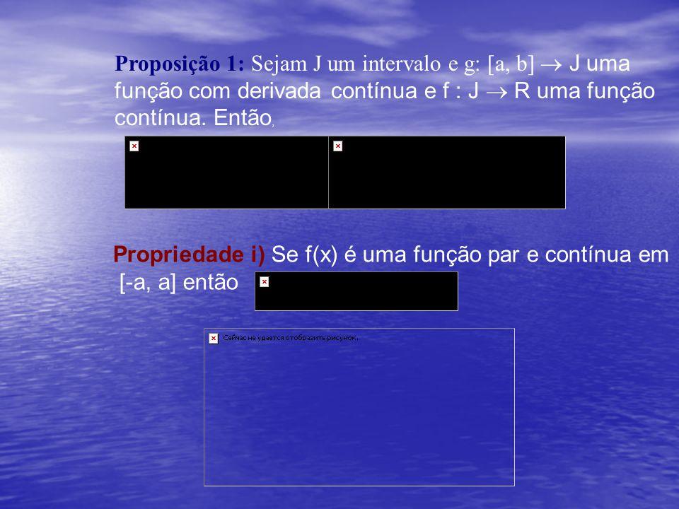 Proposição 1: Sejam J um intervalo e g: [a, b] ® J uma função com derivada contínua e f : J ® R uma função contínua. Então,